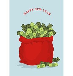 Happy new year big bag full of money holiday gift vector