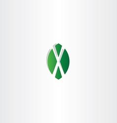 Green leaf letter x symbol logo vector