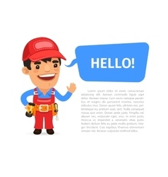 Builder saying hello poster vector