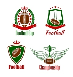 Rugby championship or sport club retro icons vector