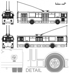 detailed trolleybus vector image