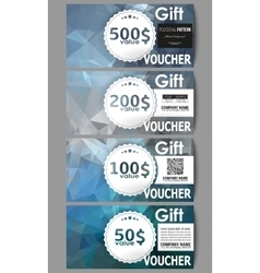 Set of gift voucher templates abstract blue vector