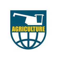 Agriculture logo harvest emblem combine harvester vector