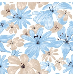 Blue flowers print seamless pattern vector image vector image