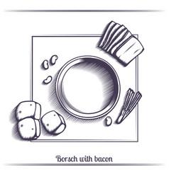 borsch with bacon black vector image