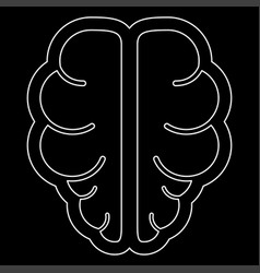 Brain the white path icon vector
