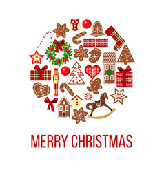 christmas card figures on bauble shape images vector image