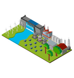 Dam and power station in 3d design vector