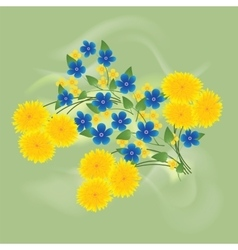 Dandelions and forget me not vector image vector image