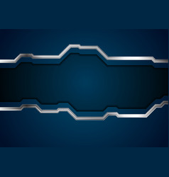 dark blue tech background with metal stripes vector image