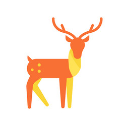 deer animal icon horned reindeer in orange color vector image