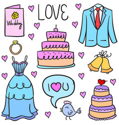Doodle of wedding party colorful vector