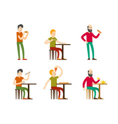 Flat eating men set vector