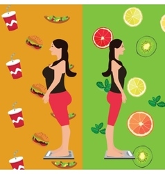 Girl before and after diet change food from vector
