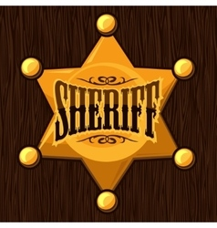 Golden sheriff star badge on vector image