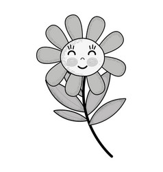 Grayscale kawaii flower plant happy cheeks and vector