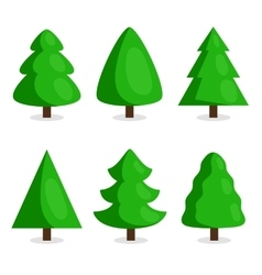 Green christmas tree set in cartoon style vector
