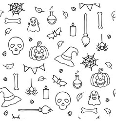 halloween seamless pattern for children coloring vector image
