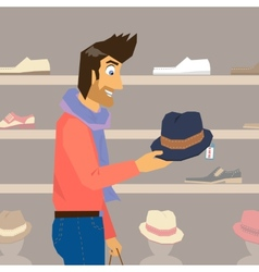 Handsome guy is doing shopping vector image vector image