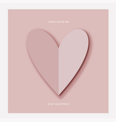 heart of pink paper on valentine s day vector image vector image