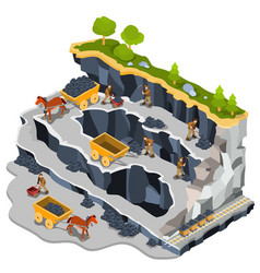Isometric coal mining quarry vector