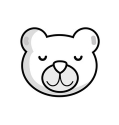 line cute teddy bear head design vector image