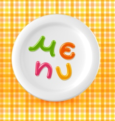 Marmalade candy menu word on plate vector image vector image