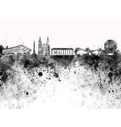 Minsk skyline in black watercolor on white vector