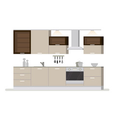 modern interior kitchen room in light tones vector image