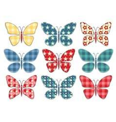 Set of patchwork butterflys 3 vector image vector image