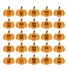set of pumpkins with different emotions vector image vector image