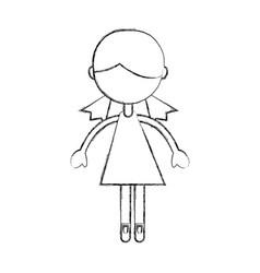 Sketch draw girl cartoon vector