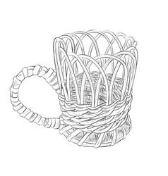sketch of wicker cup vector image