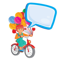 Small girl ride bikes with balloons vector