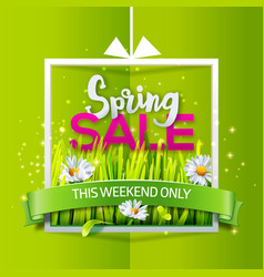 Spring sale banner with green ribbon vector