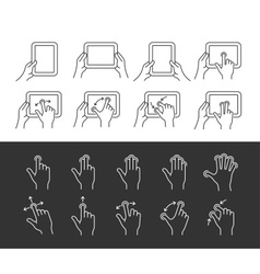 Tablet gesture icons vector
