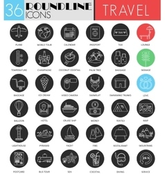 Travel tourism circle white black icon set vector image vector image