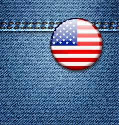 USA Flag Badge on Denim Jeans Fabric Texture vector image vector image