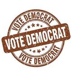 vote democrat brown grunge round vintage rubber vector image vector image