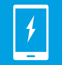 Warning phone icon white vector