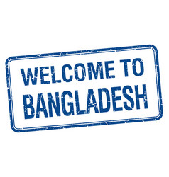 Welcome to bangladesh blue grunge square stamp vector