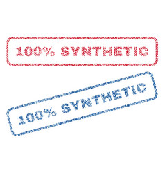 100 percent synthetic textile stamps vector