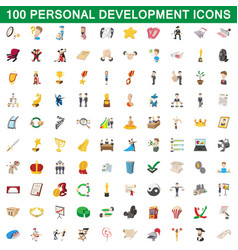 100 personal development icons set cartoon style vector image vector image