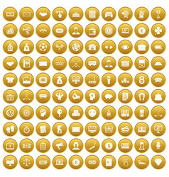 100 sweepstakes icons set gold vector