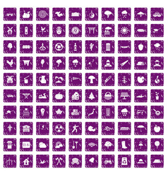100 tree icons set grunge purple vector