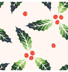 Seamless watercolor holly vector image