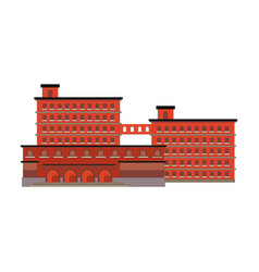 factory building red icon in the flat style vector image