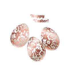 pale shiny metal easter egg decoration  floral vector image