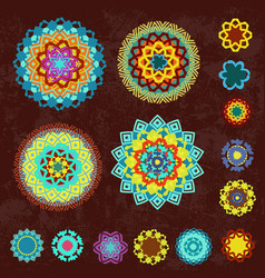 Colorful collection of ethnic arabesques on vector