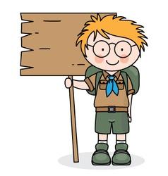 happy boy scout vector image